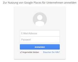Google Places Eintrag Anmeldefeld