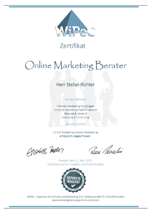 Zertifikat zum Online Marketing Berater