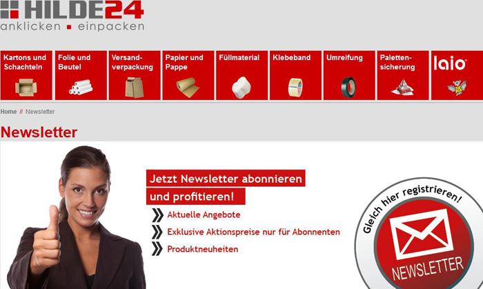 newsletter anmeldung Hilde24 .