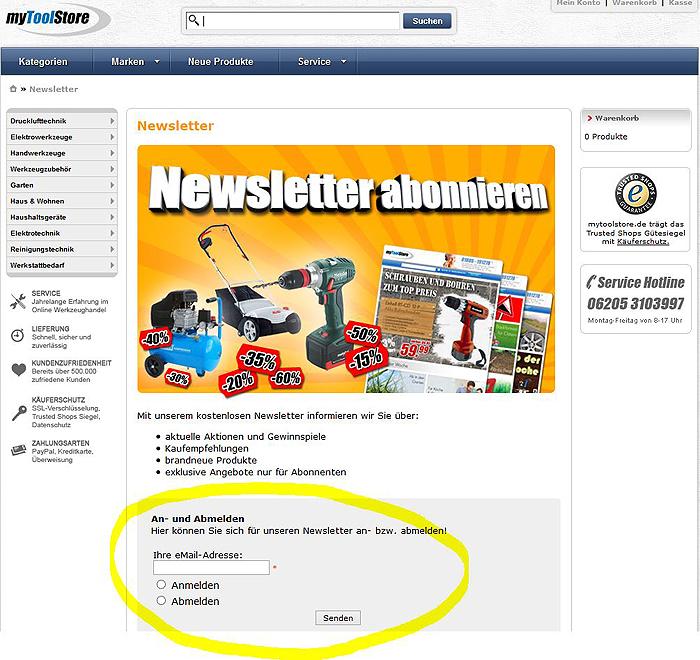newsletter anmeldung myToolStore