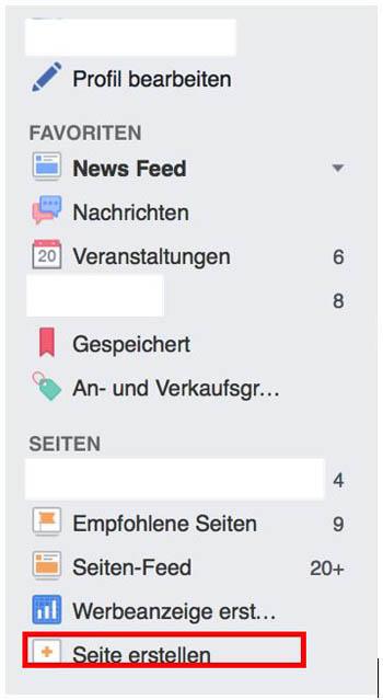 Facebook Page erstellen 1