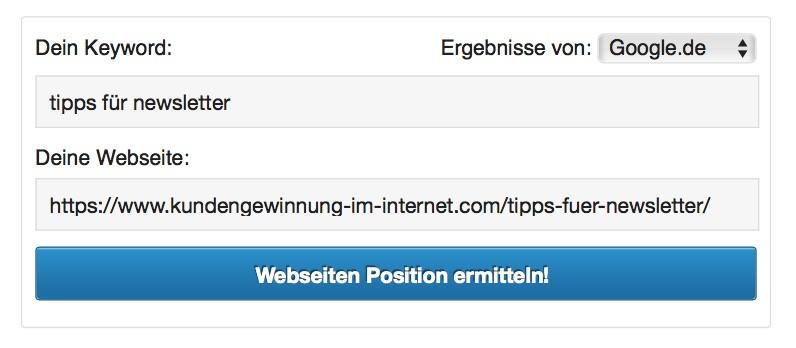 Suchmaschinen Ranking Check Tooltipp