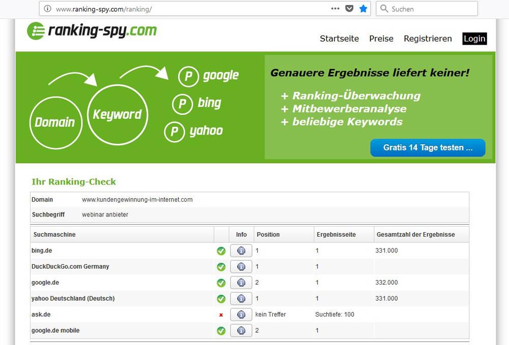 Suchmaschinen Ranking Check mit Rankingsky